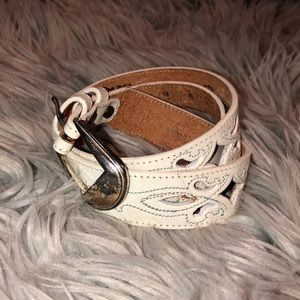 Vtg cut out western belt white leather 30